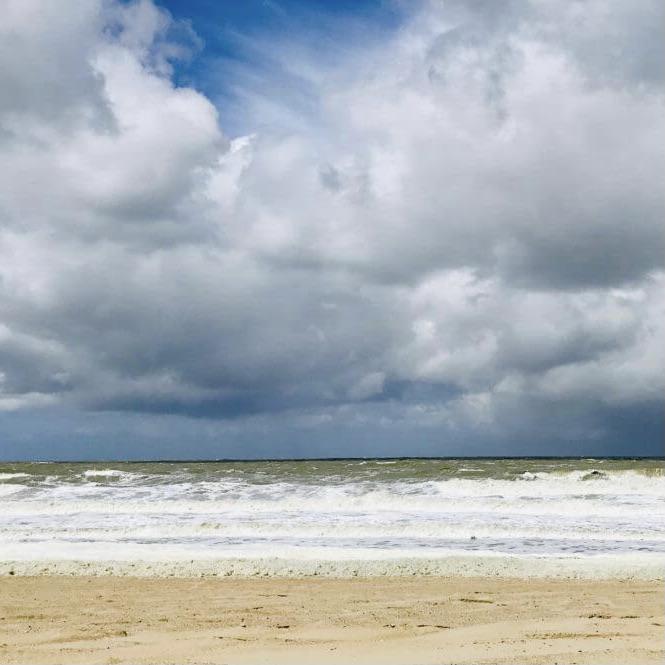 Man sieht die Küste des Meeres vom Strand aus. Der Himmel ist wolkenverhangen